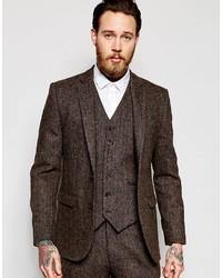 Мужской темно-коричневый шерстяной пиджак от Asos