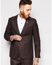 Мужской темно-коричневый шерстяной пиджак от Farah