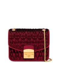 Темно-красная бархатная стеганая сумка через плечо