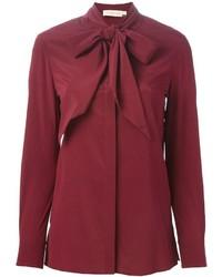 Темно-красная блуза на пуговицах