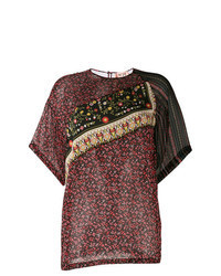 Темно-красная блуза с коротким рукавом с цветочным принтом