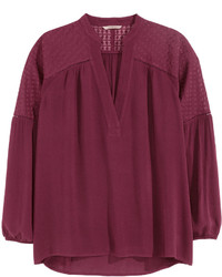 Темно-красная блузка с длинным рукавом
