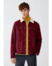 Мужская темно-красная вельветовая куртка-рубашка от Pull&Bear