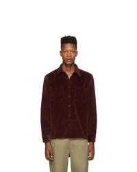 Мужская темно-красная вельветовая рубашка с длинным рукавом от Noah NYC