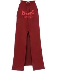 Темно-красная длинная юбка с принтом