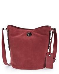 Темно-красная замшевая сумка-мешок