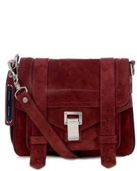 Темно-красная замшевая сумка через плечо