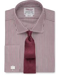 Темно-красная классическая рубашка в вертикальную полоску