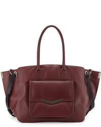 Темно-красная кожаная большая сумка
