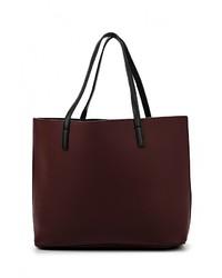 Женская темно-красная кожаная большая сумка от Mango