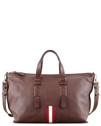 Темно-красная кожаная дорожная сумка