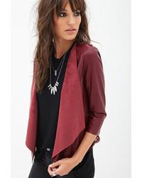 Женская темно-красная кожаная куртка от Forever 21