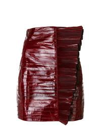 Темно-красная кожаная мини-юбка от Saint Laurent