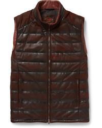 Мужская темно-красная кожаная стеганая куртка без рукавов от Tod's