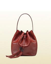 Темно-красная кожаная сумка-мешок