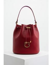 Темно-красная кожаная сумка-мешок от Furla