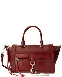 Темно-красная кожаная сумка-саквояж