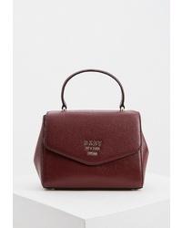 Темно-красная кожаная сумка-саквояж от DKNY