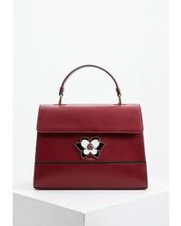 Темно-красная кожаная сумка-саквояж от Furla