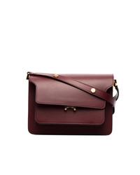 Женская темно-красная кожаная сумка-саквояж от Marni