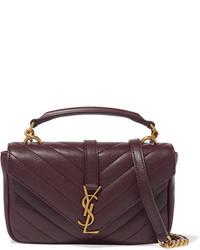 Женская темно-красная кожаная сумочка от Saint Laurent