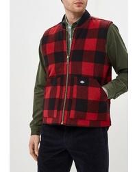 Мужская темно-красная куртка без рукавов в клетку от Dickies