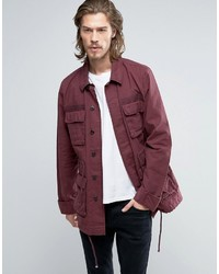 Мужская темно-красная куртка в стиле милитари от Asos
