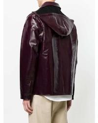 Темно-красная куртка с воротником и на пуговицах от AMI Alexandre Mattiussi