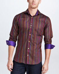 Темно-красная рубашка с длинным рукавом в вертикальную полоску