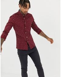 Темно-красная рубашка с длинным рукавом в горошек