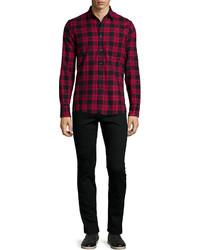 Темно-красная рубашка с длинным рукавом в клетку