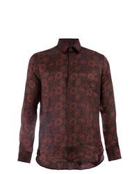 Темно-красная рубашка с длинным рукавом с цветочным принтом