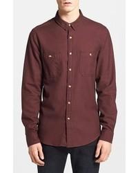 Темно-красная рубашка с длинным рукавом