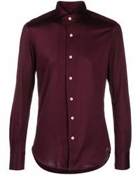 Мужская темно-красная рубашка с длинным рукавом от Canali
