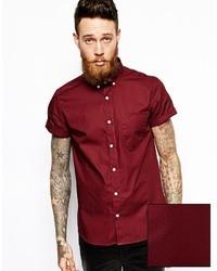 Темно-красная рубашка с коротким рукавом