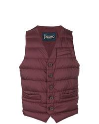 Мужская темно-красная стеганая куртка без рукавов от Herno