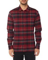 Темно-красная фланелевая рубашка с длинным рукавом в шотландскую клетку