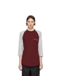 Мужская темно-красная футболка с длинным рукавом с принтом от Comme Des Garcons SHIRT