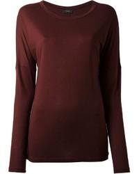 Темно-красная футболка с длинным рукавом