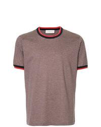 Мужская темно-красная футболка с круглым вырезом в горизонтальную полоску от Cerruti 1881