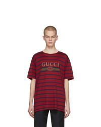 Мужская темно-красная футболка с круглым вырезом в горизонтальную полоску от Gucci