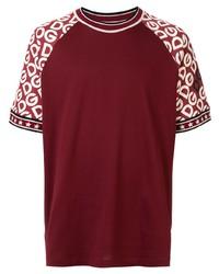Мужская темно-красная футболка с круглым вырезом с принтом от Dolce & Gabbana