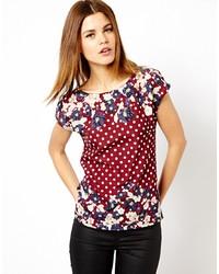 Темно-красная футболка с круглым вырезом с цветочным принтом