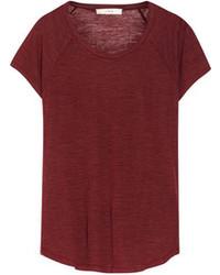 Темно-красная футболка с круглым вырезом