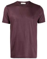 Мужская темно-красная футболка с круглым вырезом от Etro
