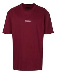 Мужская темно-красная футболка с круглым вырезом от Off Duty