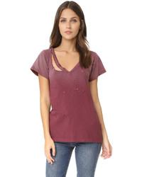 Женская темно-красная футболка с v-образным вырезом от LnA