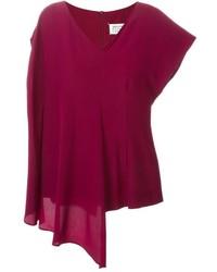 Женская темно-красная футболка с v-образным вырезом от Maison Margiela