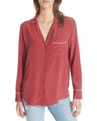 Темно-красная шелковая классическая рубашка