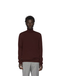 Мужская темно-красная шерстяная вязаная водолазка от Hugo